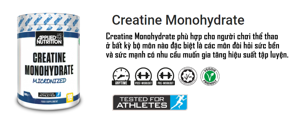 Creatine  Applied Nutrition  250g  50 lần dùng