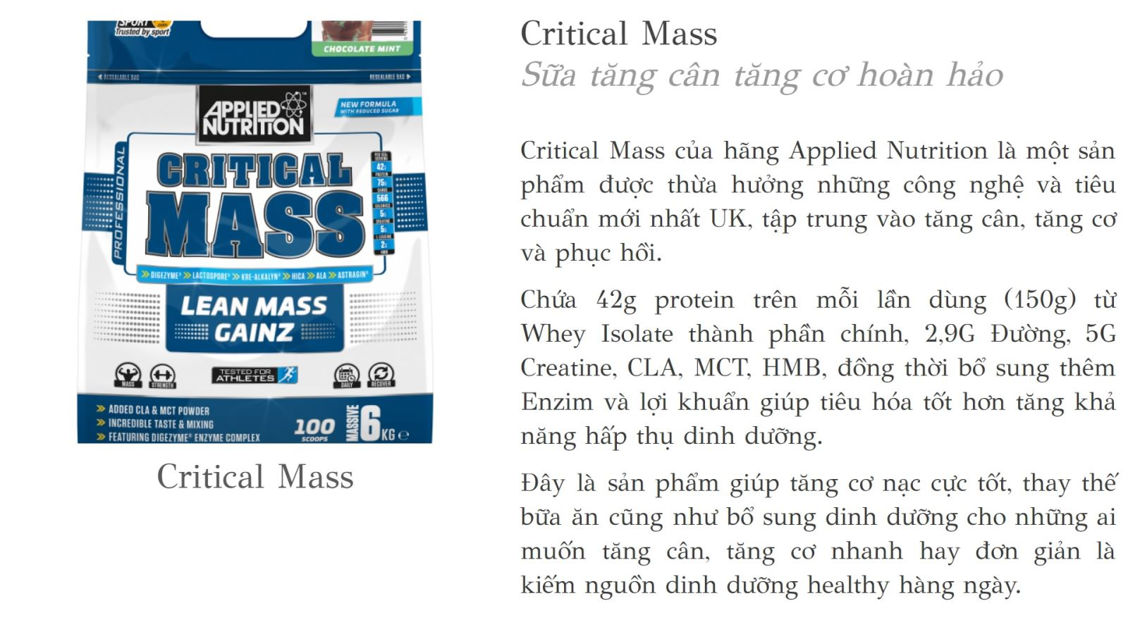 Sữa tăng cân Critical Mass Applied Nutrition 6kg