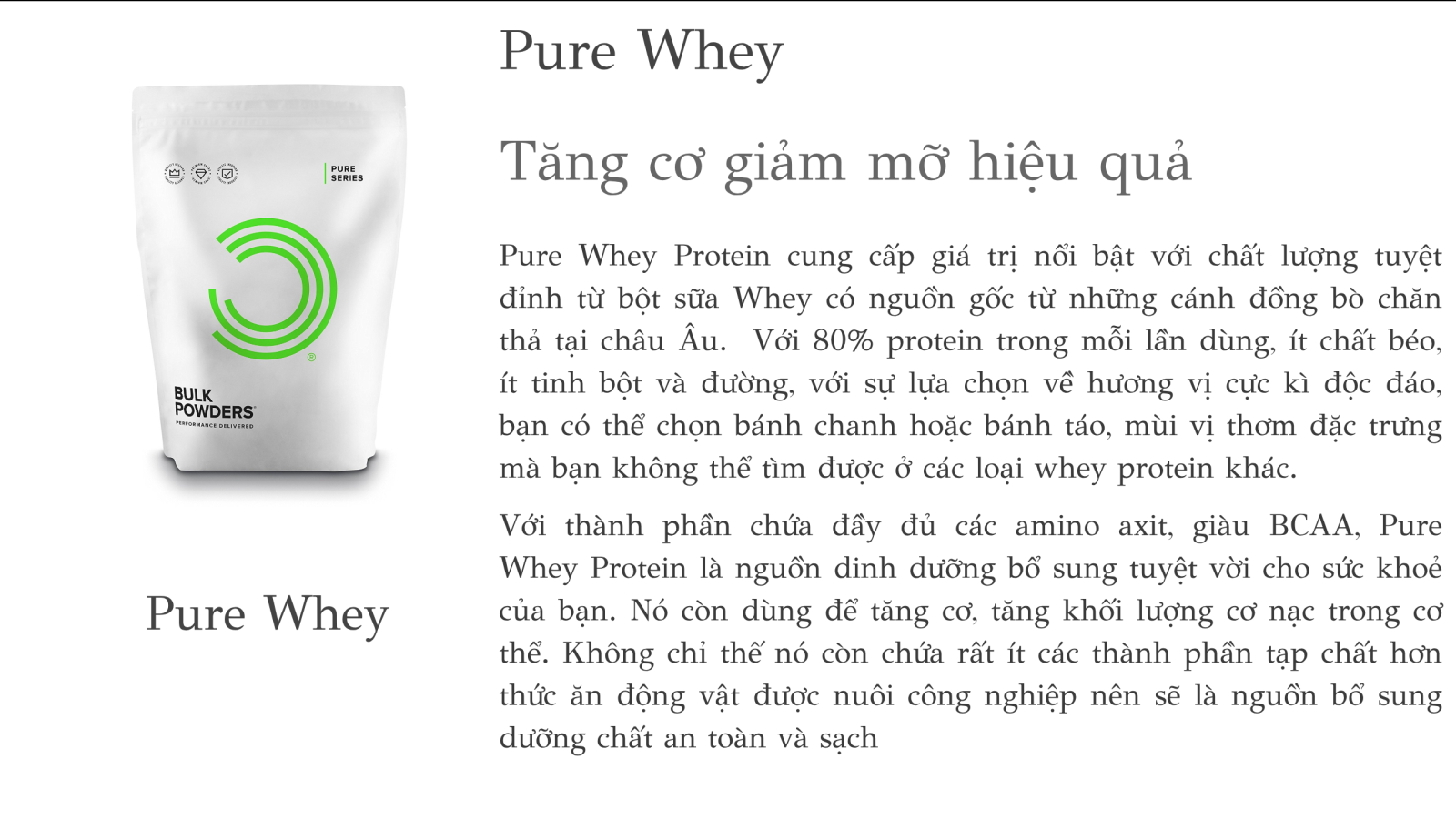 Bulk Powders - Pure Whey Protein - Lemon Meringue (Bánh Chanh) 5kg